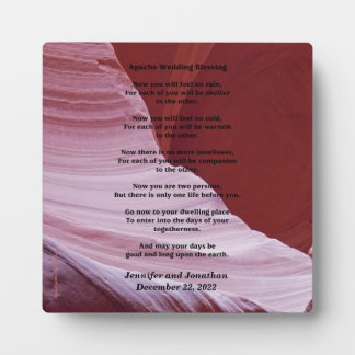 Wedding Plaque Apache Blessing Feel No Rain