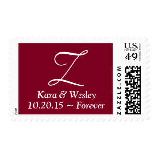 Wedding Post Cards Sized Lettered Burgundy Postage