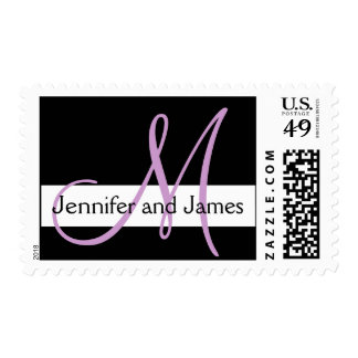 Wedding Postage Monogram Names Black Purple