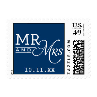 WEDDING POSTAGE mr & mrs typography dark navy blue
