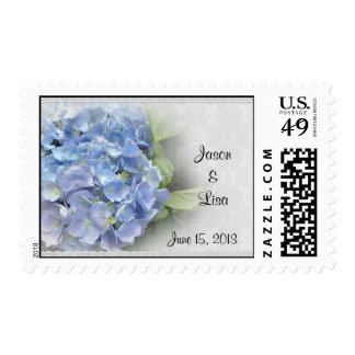 Wedding postage stamp Blue Hydrangeas