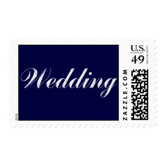 Wedding Postage Stamp Blue on Silver