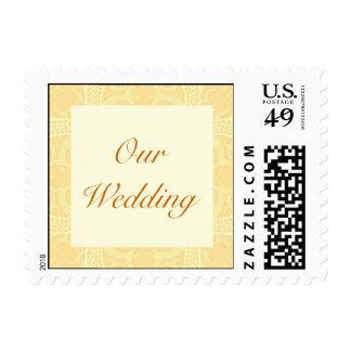 Wedding Postage Stamp - Cream Ivory Gold Pattern