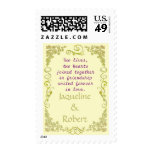 Wedding Postage Stamp - Floral Swirl in pale green