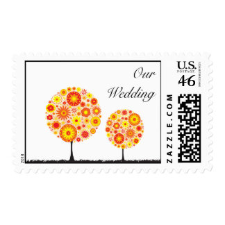 Wedding Postage Stamp - Flower Wishing Tree Orange