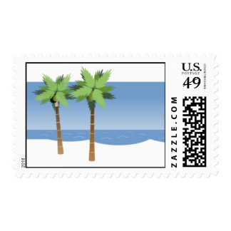 Wedding Postage Stamp Palm Trees Blue Water