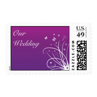 Wedding Postage Stamp - Purple Butterfly Swirl