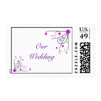 Wedding Postage Stamp - Purple & Pink Flower Swirl