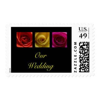 Wedding Postage Stamp - Roses pink yellow orange