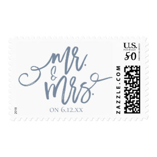 Wedding Postage Stamps | Brush Script (Dusty Blue)