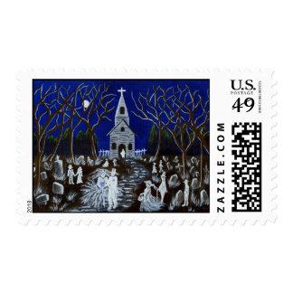 Wedding,postage,stamps,Halloween,ghosts Postage Stamp