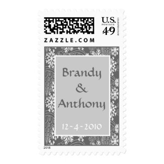 Wedding postage stamps winter snowflakes