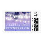 wedding postage stamps with blue string lights