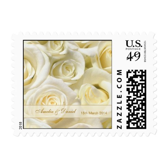 Wedding Postage with white-cream roses
