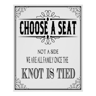 "Wedding poster ""choose a seat"" Black and white"