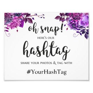 Wedding poster hashtag sign. Purple wedding print