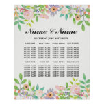 Wedding Poster Seating Floral Watercolour Sign