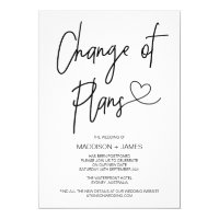 Wedding Postponed Notes Change of Plans Engagement Invitation