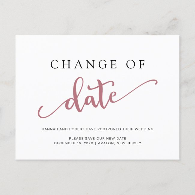Wedding Postponement Change of Date Rose Black Announcement Postcard