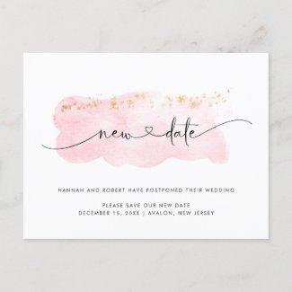 Wedding Postponement New Date & Heart Light Pink Announcement Postcard