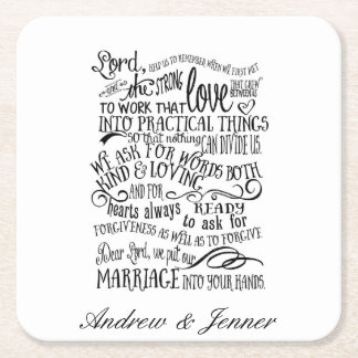 Wedding prayer personalised Favor wedding coaster