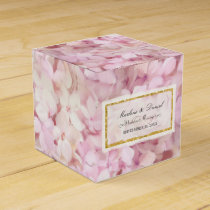 Wedding Pretty Pink Faux Gold Hydrangea Floral Art Favor Box