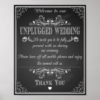 "Wedding prin ""Unplugged Wedding vintage chalkboard Poster"