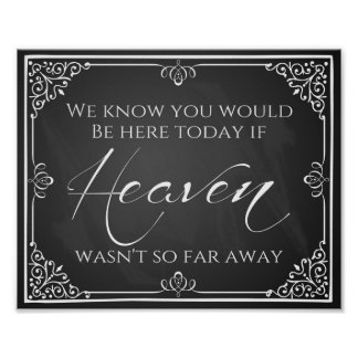 "Wedding print ""Missing  loved one  heaven"""