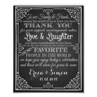 "Wedding print ""Thank You"" vintage chalkboard"