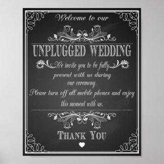 Wedding print Unplugged Wedding vintage chalkboard