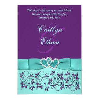 Wedding | PRINTED BOW Aqua, Purple | Floral 5x7 Paper Invitation Card