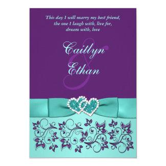Wedding | PRINTED BOW Aqua, Purple | Floral Invitation