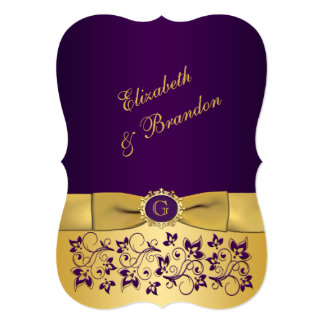 Wedding   PRINTED BOW   Purple and Gold   Floral Invitation