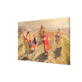 Wedding procession in the Orel region Canvas Print
