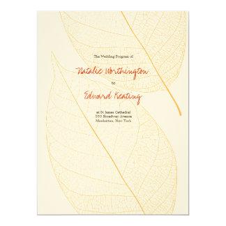 Wedding Program Autumn Fall Delicate Leaf