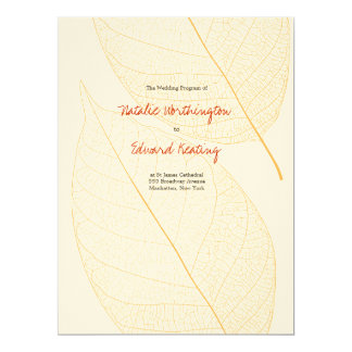 Wedding Program Autumn Fall Delicate Leaf Announcements