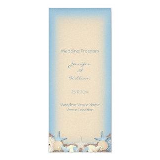 Wedding Program Beautiful Tropical Beach Shells 4x9.25 Paper Invitation Card