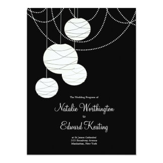 "Wedding Program Black & White Round Lanterns 6.5"" X 8.75"" Invitation Card"