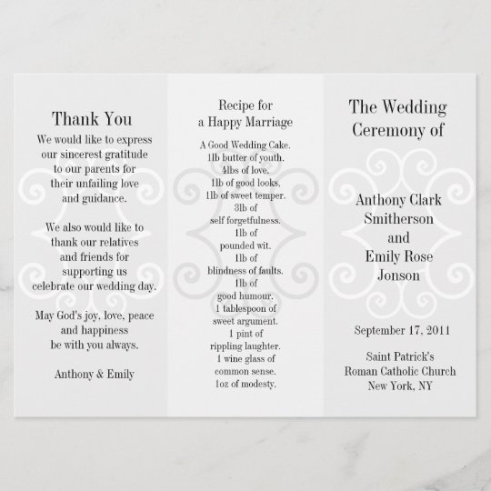 wedding program brochure grey curl zazzle com