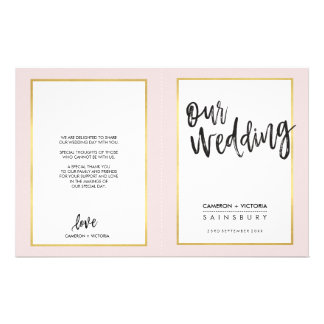 WEDDING PROGRAM brushed lettering gold frame pink