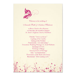 Wedding Program ~ Butterfly Garden 1 Card