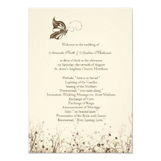 Wedding Program ~ Butterfly Garden 5 Card