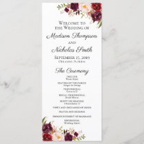 Wedding Program Cards with Marsala & Pink Flowers