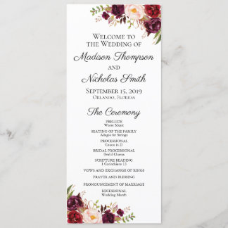 Wedding Program Cards with Marsala & Pink Flowers