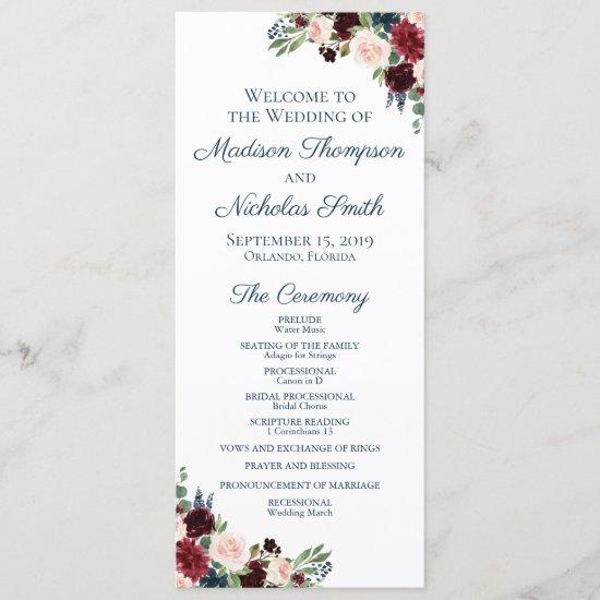 Wedding Program Cards with Navy Marsala Flowers