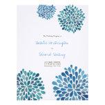 Wedding Program Cerulean Blue Flower Blooms Personalized Invitation