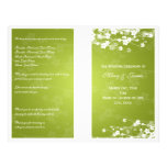 Wedding Program Cherry Blossom Lime Green Personalized Flyer