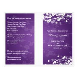Wedding Program Cherry Blossom Purple