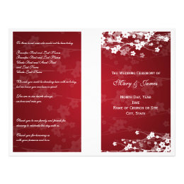 Wedding Program Cherry Blossom Red