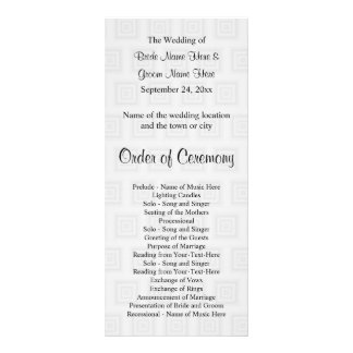 Wedding Program Design Pale Gray Squares. Rack Card Design